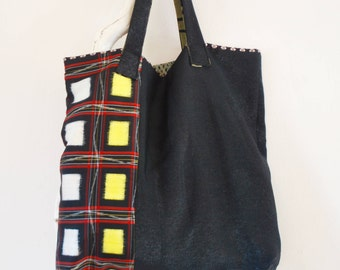 Shoulder Bag/tote made from vintage Japanese kimono silk.
