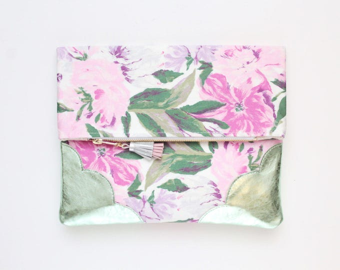 BLOOM 4 / Flower clutch purse-leather bag-fold over purse-scalloped leather-handbag-floral print-tassel pull bag-green pink-Ready to Ship