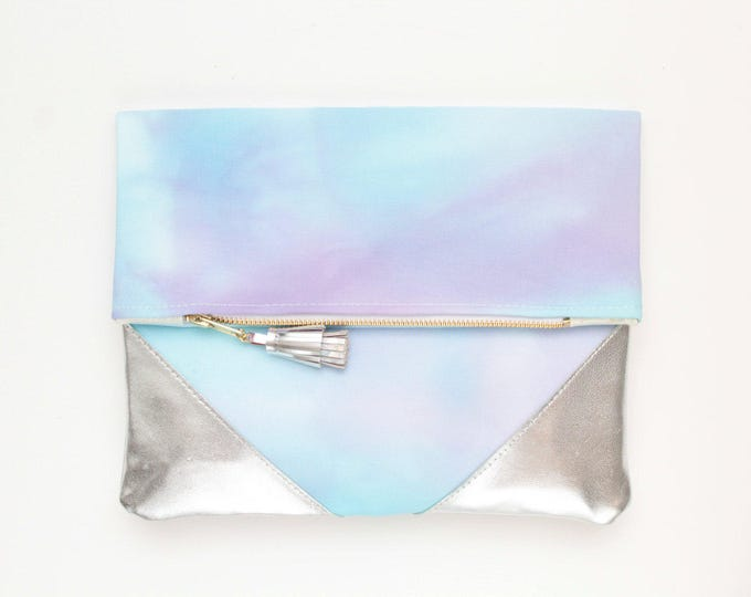 PALOMA 3 / Leather clutch purse-dyed cotton bag-fold over purse-hand colored bag-watercolor fabric-leather tassel-blue purple- Ready to Ship
