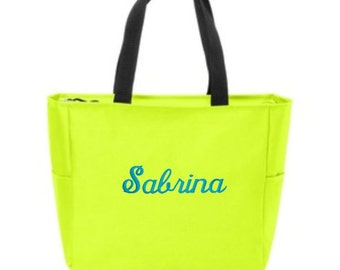 Personalized Totes Bags, Zip Top Tote, Bridesmaid Gifts, Beach Bags, Wedding Beach Bags, Zip Top Bag, Bridesmaids Gifts, Custom Gift