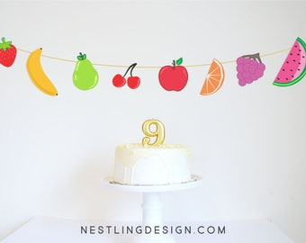 Fruit Garland   Twotti Frutti   Twotti Frutti Party   Two-tti Fruity Birthday   Printable Party Decorations   Fruit Banner