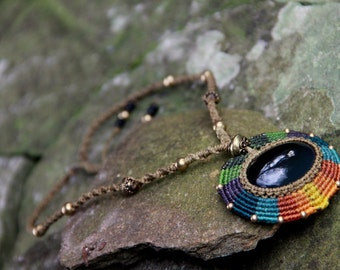 Macrame necklace with obsidian