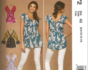 McCalls 7572 new and uncut size 6 - 14 womans blouse