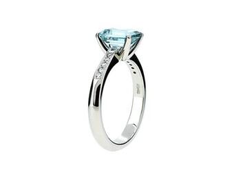 Emerald cut aquamarine engagement ring, 950 Platinum, diamond ring, solitaire, unique, blue engagement, wedding ring, vintage, light blue