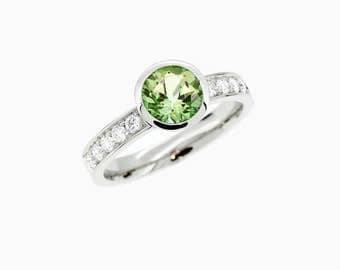 Peridot ring engagement ring, Palladium, diamond engagement, green, peridot, bezel, solitaire, Palladium engagement,  green engagement