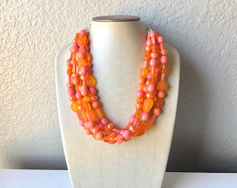 Coral & Orange Statement Necklace, multi Strand Beaded Jewelry, Bright Necklace, coral necklace, summer necklace, beaded jewelry