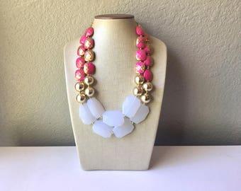 Dark Pink Gold White Statement Necklace, Chunky Two Strand Jewelry, pink necklace, gold necklace, COLOR BLOCK, bib necklace, white gold