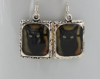 Black Cat Earrings Jewelry Silver Square Halloween Pet 3D Dimensional