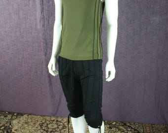 NEW!!! Mens Verticle Stripe Tank Top in Forest Green Organic Cotton/Soy Fabric