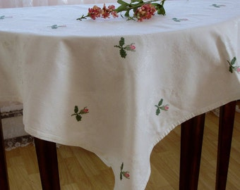 "Damask Table cover, Tablecloth with cross stitched floral detailing, double damask table cloth, tea linens. tea tablecloth, 41"" square"