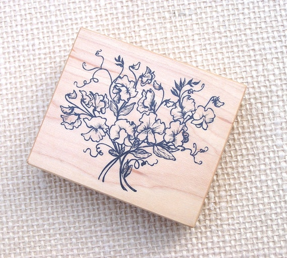 Vintage Floral Rubber Stamp Sweat Peas Stamp 1995 PSX
