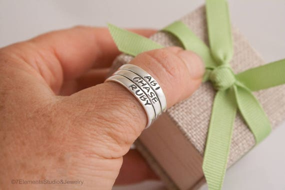 Tube Ring, 3-Tier Stacked Mother's Ring, Sterling Silver Anniversary Ring, Contract Ring, Abundance Ring