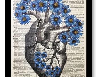 Anatomical Heart Blue Cornflowers Flowers, Floral Heart, Anatomical Heart on 8x10 Vintage Dictionary page, Dictionary art, Dictionary print