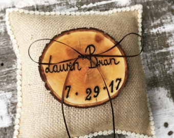 Rustic ring bearer pillow - Wedding ring pillow - Burlap Ring Bearer pillow - customized wedding ring bearer pillow
