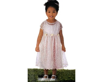 """Simplicity 5627 Girl's Easy-To-Sew Spring Dress with Short or Cap Sleeve and Sleeveless Sewing Pattern Sz 1/2-4 Chest 19-23"""" / 48-58cm UNCUT"""