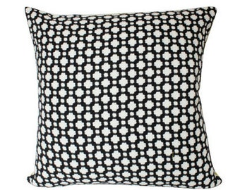 Betwixt Black and White Pillow Cover with Schumacher Fabric