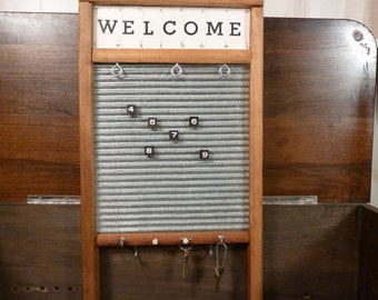 Welcome Key Rack Note Holder Washboard Sign Laundry Decor