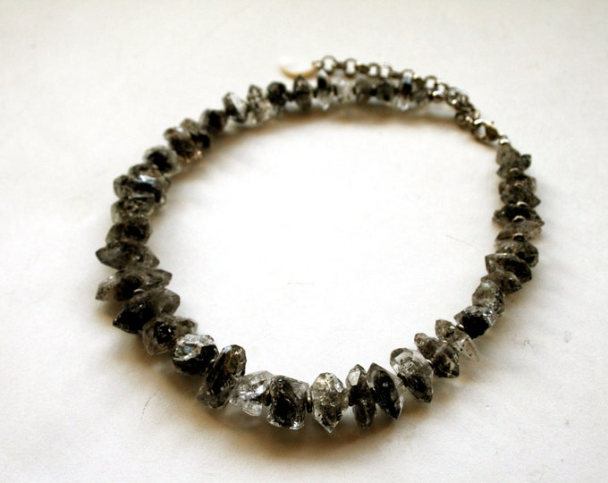 Herkimer Diamond Choker Necklace // Double Terminated Herkimer Diamond Quartz Crystal Choker