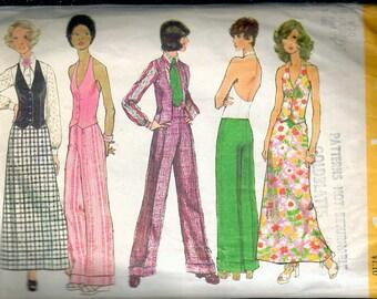 "Vintage 1972 Simplicity 5409 Retro Blouse, Halter Vest, Pants & Skirt Sewing Pattern Size 10 Bust 32 1/2"""