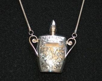 Sterling Silver Victorian Scent Bottle Pendant