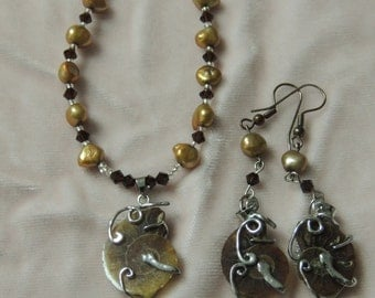 stone necklace and earrings
