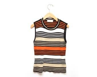 90s Striped Knit Tank Top Women's Small Orange Black
