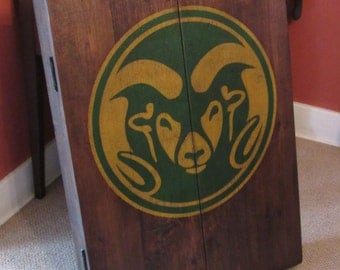 Rustic Dart Board Cabinet with Custom Hand-Painted Team Logo Graphics