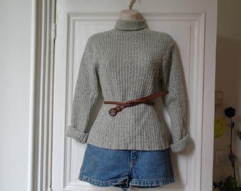 Vintage turtleneck heather grey pullover
