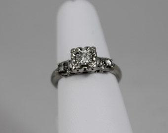 14K White Gold Diamond Vintage Engagement Ring 1950s