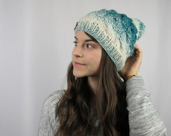 FLASH SALE Handknit Teal Ombre Cable Beanie by Morthunder