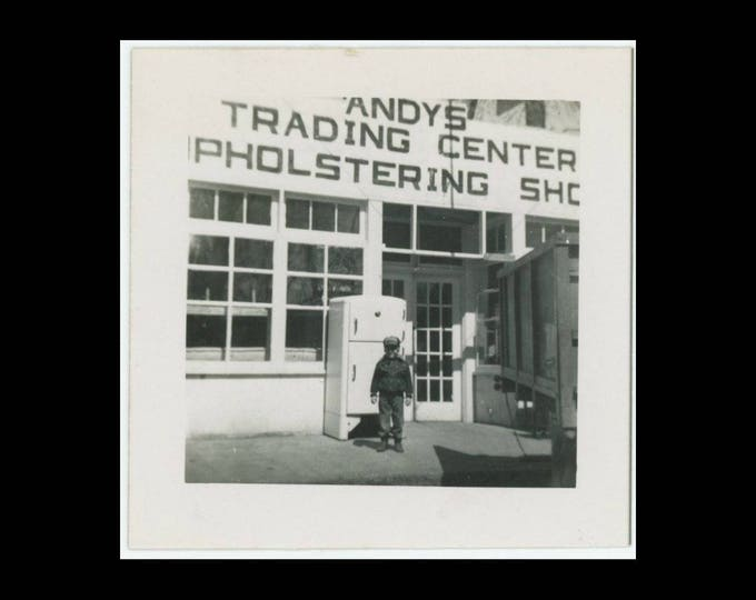 Vintage Snapshot Photo: Andy's Trading Center & Upholstering Shop, c1940s (74567)