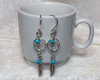 Sterling Silver Dream Catcher and Feather Dangle Earrings