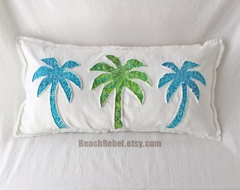 "Palm trees bolster pillow cover turquoise and lime batik and white denim 28""x14"" tropical shabby beachy decor pillow"
