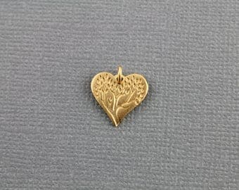Gold Vermeil Over Sterling Silver,, Tree Of Life /Heart Charm / Pendant with Open Jump Ring,   1 Piece, (VM/CH4/CR104)