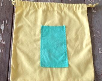VINTAGE COTTON BAG-Drawstring Bag,Market Bag,Handmade Bag,Cotton Bag,Shopping Bag,Travel Shoe Bag,Lingerie Storage,Garden Bag,csa bag,Co op