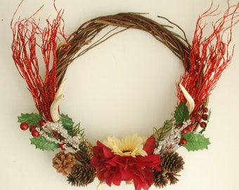 Floral Real Deer Antler Wreath - Christmas Winter Holiday Red Glitter Pine Cones Grapevine Berry Taxidermy Antlers White Green Door Decor