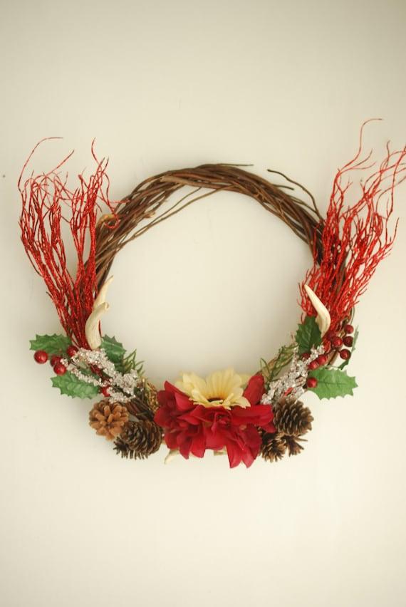 Floral real deer antler wreath christmas winter by hunterdear for Antler christmas wreath
