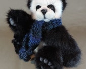 Reserved for Pam Pontious - Artist Teddy Panda Bear, 'Xingfu' OOAK fully jointed and needle felted face teddy bear, 12.5 inches, Tissavel f