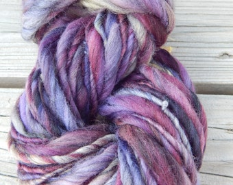 Hand spun, hand painted merino/tencel wool top yarn - bulky - thick and thin - 63 yards, 4.2 oz.