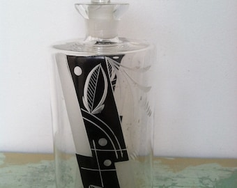 "1950's ""Modern"" Mad Men  Etched And Painted Glass Decanta  Perfect For Wiskey"