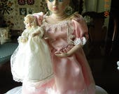 Porcelain Princess Doll with Baby Doll - 17""