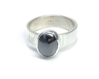 Hematite and Sterling Silver Ring, Hematite Silver Ring, Silver Ring, Gift for Her, Everyday Ring