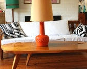 1970s Orange Pottery Base Lamp with Shade