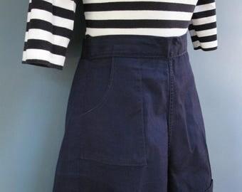 Navy Shorts 1960's Nautical High Waist Cuff Shorts