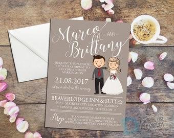 Cartoon Wedding Invitation - Bride Groom Cartoon - Cartoon Invite - Cartoon Invitation - Wedding Couple Portrait - Wedding Portrait