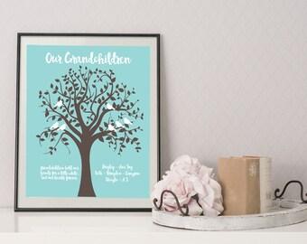 Grandchildren Family Tree -  Grandparents gift - Family Tree - Gift for Grandparent - Grandma Gift - Grandfather Gift - Gift for Mom