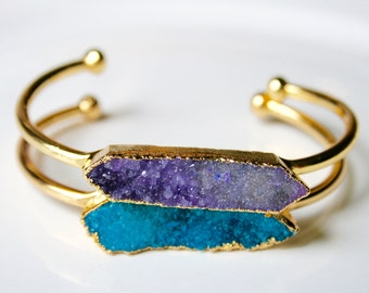 Gold Dipped Teal Druzy Bar Cuff Bracelet