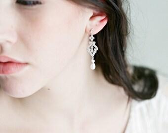 Drop Earrings, AURELIE Bridal Earrings Swarovski Earrings Dangle Bridal Earrings, Cubic Zircona Drop Earrings, Pearl Dangle Earrings