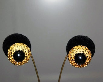 SALE! Vintage French Couture Spotted Textured Black Cabochon High End Designer Earrings E12