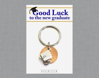 Lucky Penny Keychain, Graduation Gift, Good Luck New Graduate Gift, Cap and Diploma, Class of 2017, High School Graduate, College Graduation
